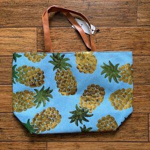 Light Blue Sequin Pineapple Tote Bag